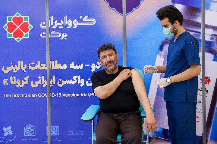 سعید حدادیان (مداح) در تزریق واکسن کوو ایران برکت ، فاز 3 مطالعات بالینی