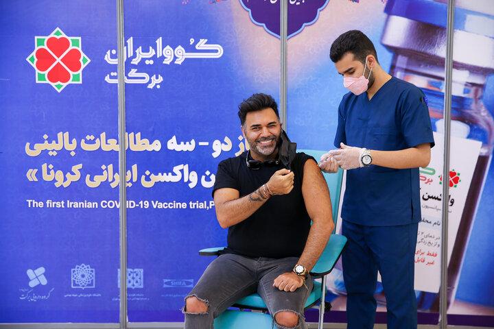 پوریا حیدری (آهنگساز) در تزریق واکسن کوو ایران برکت ، فاز 3 مطالعات بالینی