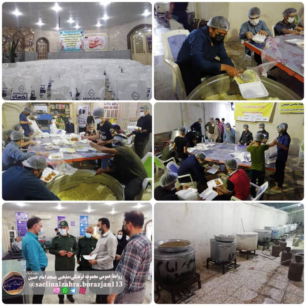 طبخ و توزیع ده هزار پرس غذای گرم بمناسبت عید غدیر خم در آشپزخانه گروه جهادی شهید حججی مسجد امام حسین(ع) برازجان